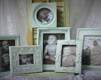 Frame Set 6 hand painted White with Pale turquoise wash
