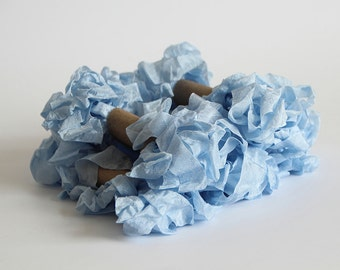 5 m - 5.4 yards - SKY BLUE Shabby Wrinkled Ribbon - Crinkled Seam Binding Ribbon