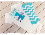 Baby BOYS FIRST BIRTHDAY Outfit, Boys Bow Tie Birthday Outfit, Aqua Chevron Leg Warmers, Birthday Boy Bodysuit, Cake Smash, Boys 1st B-day