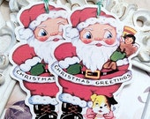 Retro Santa Merry Christmas Tags (6) Christmas Favor Tags-Holiday Gift Tags-Santa Tags-Christmas Treat Tag-Christmas Gift Tag-Santa Die Cut
