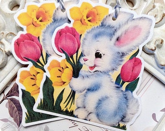 Baby Bunny Gift Tags (6) Bunny Tags-Easter Favor Tags-Easter Treat Tags-Easter Gift Tags-Shabby Gift Tags-Shabby Easter Tag-Spring Gift Tag