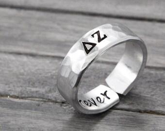 Delta Zeta Ring, Sorority Ring, Personalized Sorority Jewelry, personalized jewelry, hand stamped ring, handstamped jewelry,Sorority Jewelry
