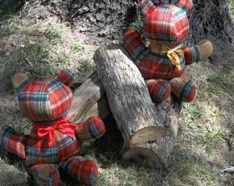 Red Wool Teddy Bear  FREE SHIPPING