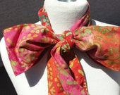 Upcycled Steampunk Clothing, Mad Hatter Bow Tie- Alice in Wonderland (Orange and Pink Batik Print) Neck Tie, Handmade Bow Tie