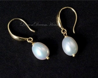 Freshwater Pearl Earrings, White Rice Freshwater Pearls, Gold Fancy Earwires, Vermeil Ballpins. Bridal, Bridesmaid. Gift for Her. E242.