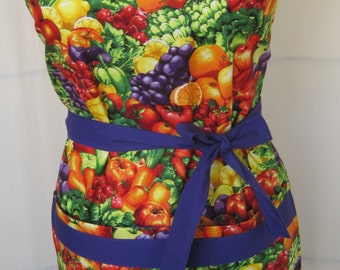 Farmers Market Fruit and Veggie Cotton Apron - with two big pockets