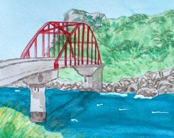 Okinawa Japan Red Bridge PRINT of an Original Watercolor Painting by Theresa Smith 8x10