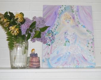 Beautiful Dreamer, Opera Singer, Singing on Stage in beautiful gown. Original Oil by KSonya, 16x20 in, 40.x51 cm, Fromglentoglen