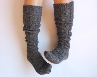 Dark grey boot socks. Grey knee high socks. Hand knit leg warmers. Gift for her. Lace socks. Wool socks. Boudoir socks. Rustic.