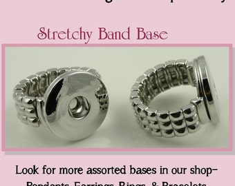 2  Stretchy Ring Bases for DIY SNAP Bezel Toppers. Works with Snap Jewelry  -  Interchangeable Snap Jewelry DIY