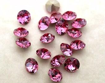 18 Rose 34ss Swarovski Xirius Round Rhinestones-Loose Rhinestones-Loose Crystals-Wholesale Rhinestones