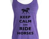 Keep Calm and Ride Horses Soft Tri-Blend Racerback Tank