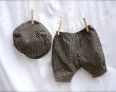 Baby boy tan and black gingham Boys Baby pants & Hat, gingham Baby boys pants with hat, baby boy suit, birthday outfit for boys  0-3 months