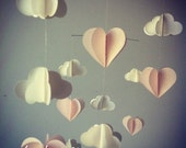 Special Order for Amy 20/01/2014: Mobile, clouds and hearts, iridescent white and soft pink