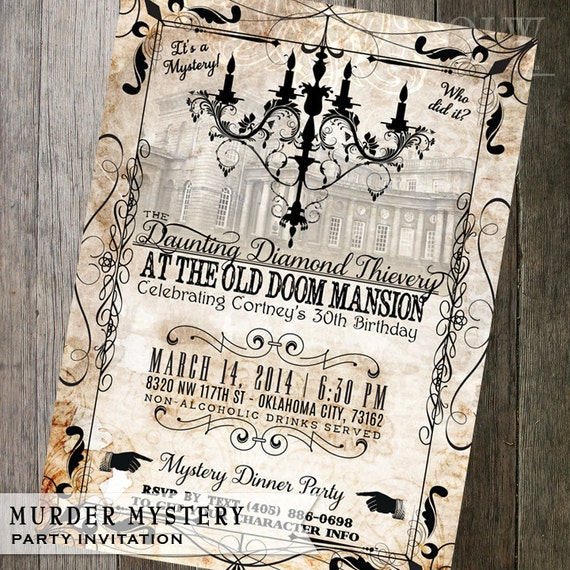 Murder Mystery Dinner Sheet Free: Murder Mystery Dinner Party Invitation Vintage By