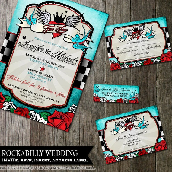 rockabilly wedding invitations and stationery package retro,