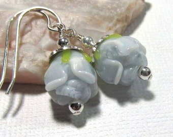 Dangle Drop Earrings - Lampwork Short Rose Bud - Pale Blue - Sterling Silver Ear Hooks (Z-2)