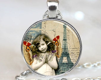 Girl with Butterflies and Eiffel Tower France French Paris Handcrafted  Necklace Pendant (PD0234)