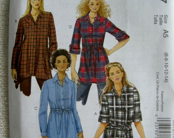 McCalls Misses Womens Tunics and Sash Shirt Top Pattern M6167 UC Uncut FF Size 6 8 10 12 14