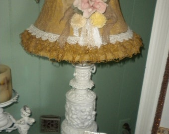 SALE....Re purposed Vintage Cast Metal Cherub Lamp, Shabby Chic, Victorian, French, French Country