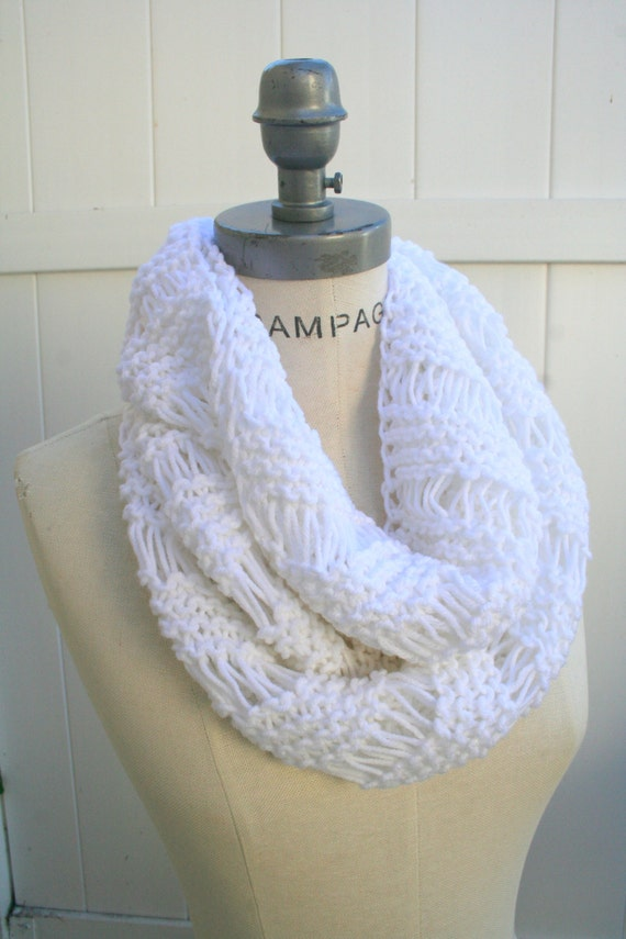 Most Popular Items White Hant Knit Scarf  Infinity  Scarf   Women Scarves Christmas Gifts Guide- By PIYOYO