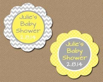 Personalized Yellow and Grey Party Favor Tags, Printable Baby Shower Tags, Gender Neutral Baby Shower Labels, DIY Favors Custom Tags BB1