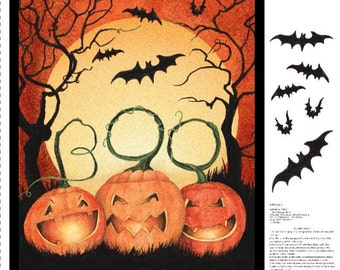Halloween door panel fabric - pumpkin - trick or treat - BTY - NEW - spooky - BOO - quilt - orange - black - easy fast