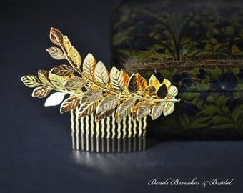Gold Leaf Hair Comb,Wedding Hair Comb,Bridal Hair Comb,Grecian Hair,Greek,Wedding Hair Accessories,Laurel Gold Hair Comb, Hair Accessory