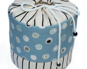 Circles and dots - blue, white and black toilet paper holder