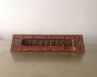 Large Antique Solid metal front door letter slot, 'Lettres'