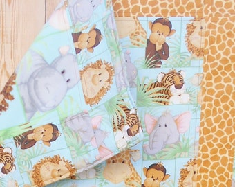 """Jungle Babies Quilt, Baby Boy Quilt, Quilted Blanket, Baby Girl Crib Quilt, Handmade Toddler Quilt, Stroller Cover, 39"""" x 64"""""""