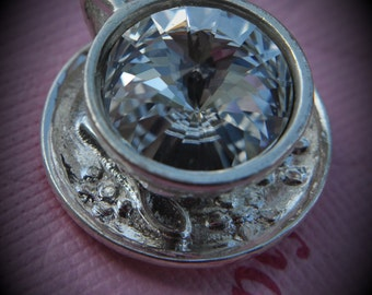 Silver Plated Genuine Swarovski Crsytal Tea Cup Rivoli In Clear Pendant