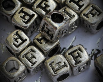 Letter F Sterling Silver Plated Bead