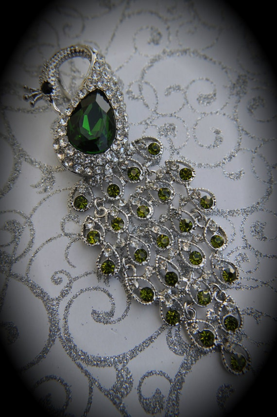Huge Delicate Silver Plated Peacock Pendant With AAA Crystals