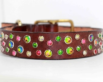Custom Leather Dog Collar with Swarovski Crystal Pink Green Crystal Dog collar Rhinestone