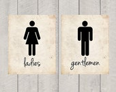 Bathroom Art - Ladies and Gentlemen Print - 8x10