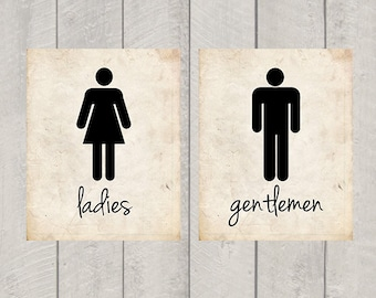 Bathroom Art - Ladies and Gentlemen Print - 5x7 or 8x10
