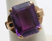 RESERVED Estate 14k rose gold Purple Amethyst Ring Solitaire Emerald Cut 13 carats Vintage