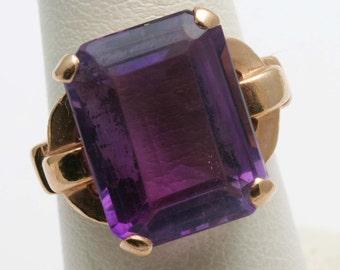 Estate 14k rose gold Purple Amethyst Ring Solitaire Emerald Cut 13 carats Vintage