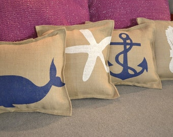 3  NAUTICAL PILLOWS With INSERTS …Hand  Screened on Burlap