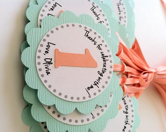 20 Turquoise and Coral First Birthday Tag.  Personalized Tags.  Birthday Favor Tags.  Party Favors.