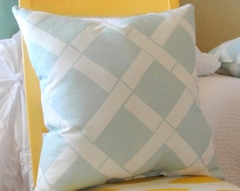 Blue and white pattern square thow pillow