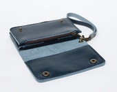 Leather iPhone wallet case with mini zipper in Dark Blue(For iPhone5/5s)