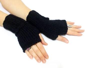 Fingerless gloves, Hand knit, Black, Gray, White, Boho knit glove mittens, Knit gloves mittens, Black and white, Stripes Gloves, Xmas gift