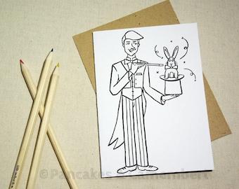 Coloring card - Magician