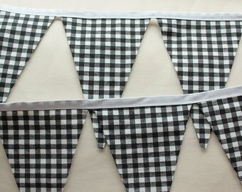LONG FABRIC GARLAND -- gingham pennant fabric flag banner -- Halloween fabric bunting -- pennant garland -- party bunting -- 15 feet