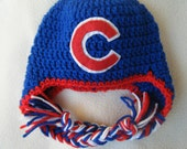 Crocheted Chicago Cubs Inspired Baby Beanie/Hat - MADE TO ORDER - Handmade by Me