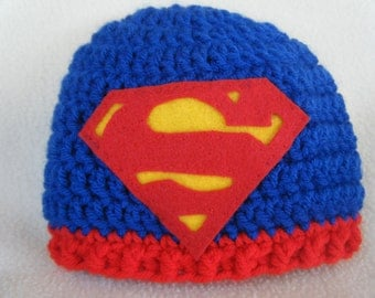 Crocheted Superman Baby Hats - Made to Order