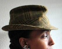 Olive Green Plaid Vintage Mens Fedora Hat