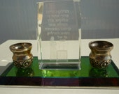 Judaica Vintage Sabbath candleholders with prayer inside glass prism -Unique-